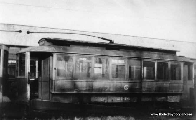 "Ancient CSL car 2144 at Clark and Devon, c1930-32. The side sign reads, ""Base Ball."" (George Krambles Photo, Edward Frank, Jr. Collection)"