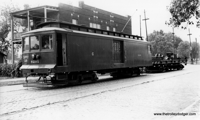 "CSL Supply Car S201. Don's Rail Photos: ""S201, supply car, was built by Chicago City Ry in 1908 as CCRy C45. It was renumbered S201 in 1913 and became CSL S201 in 1914. It was retired on September 27, 1956."" (Joe L. Diaz Photo)"