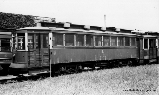 "CSL 1465 was called a ""Bowling Alley"" car due to its sideways seating. Don's Rail Photos says, ""1465 was built by CUT in 1900 as CUT 4514. It was rebuilt as 1465 in 1911 and became CSL 1465 in 1914. It was rebuilt as (a) salt car and renumbered AA71 on April 15, 1948. It was retired on August 2, 1951."" (Joe L. Diaz Photo)"