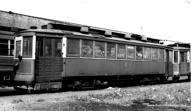 "CSL 1457. Don's Rail Photos: ""1457 was built by CUT in 1900 as CUT 4505. It was rebuilt as 1457 in 1911 and became CSL 1457 in 1914. It was rebuilt as (a) salt car and renumbered AA68 on April 15, 1948. It was retired on December 17, 1958."" (Joe L. Diaz Photo)"