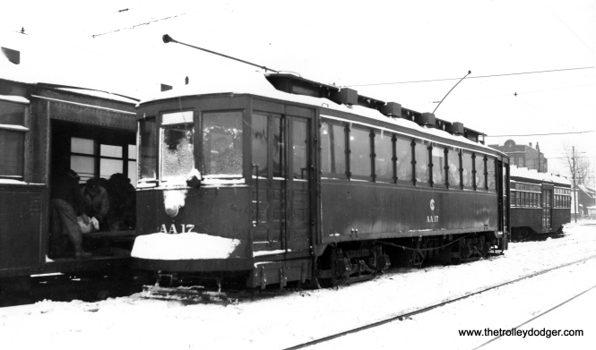 "CSL/CTA Calt Car AA17. Don's Rail Photos: ""AA17, salt car, was built by CUTCo in 1900 as CUT 4523. It was rebuilt as 1475 in 1911 and became CSL 1475 in 1914. It was rebuilt as salt car in 1930 and renumbered AA17 on October 1, 1941. It was retired on October 30, 1951."" (Joe L. Diaz Photo)"