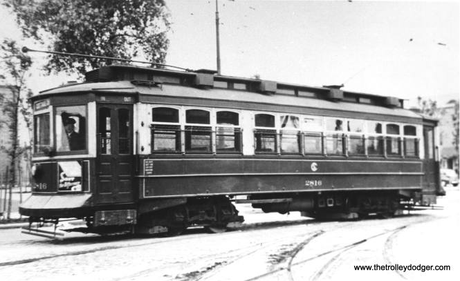 "CSL 2816 was a Calumet Electric Railway car. Don's Rail Photos: ""2816 was built by Brill Car Co in 1902, #12109, as Calumet Electric Ry 110. It became Calumet & Street Chicago Ry 801 in 1908 and rebuilt from single end to double end in 1910. It was renumbered 2816 in 1913. It became CSL 2816 in 1914 and scrapped in 1946."""