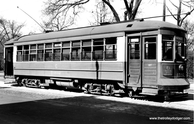 "CSL 1592 was another Chicago Railways car, built in 1912. Andre Kristopans says 1592 is ""on Division just west of California, by Humboldt Park."" (Joe L. Diaz Photo)"