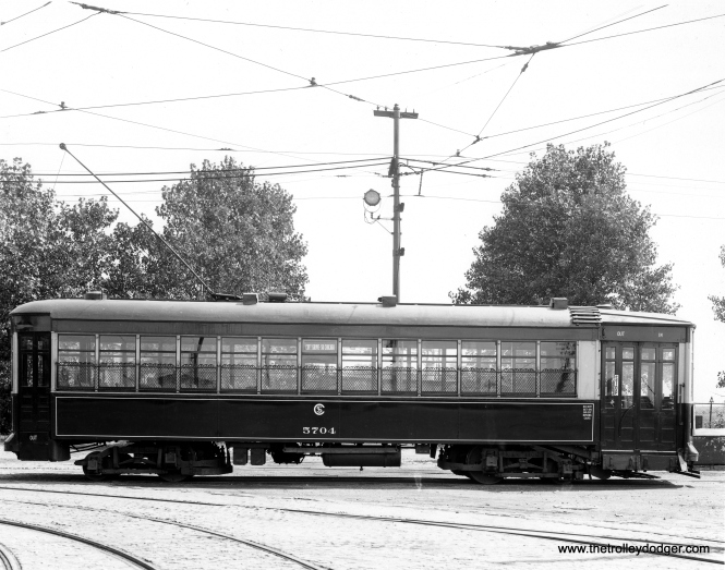 "CSL 5704 was a Nearside or Muzzleloader car. Don's Rail Photos:"" 5704 was built by Brill Car Co. in 1912, #18322. It was rebuilt as one man/two man service in 1933."""