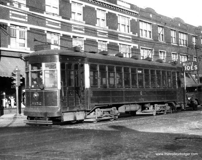 CSL 6152, an Odd 17 car, on through route 1, Cottage Grove-Broadway. This picture was taken at the same location as another we previously posted, which George Trapp identified as Devon and Glenwood (1400 W). The car is heading westbound. You can find that photo in our post Chicago Surface Lines Photos, Part Ten (May 6, 2016). (Krambles-Peterson Archive)