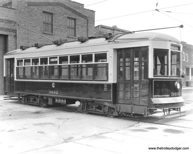 "CSL 3092 was known as a ""Sewing Machine"" or Safety car. Don's Rail Photos: ""3092 was built by CSL in 1921. It was scrapped in 1946."" The lower part of this car, which is probably red, may appear darker due to the use of orthochromatic film. This may show the car as new. (Krambles-Peterson Archive)"
