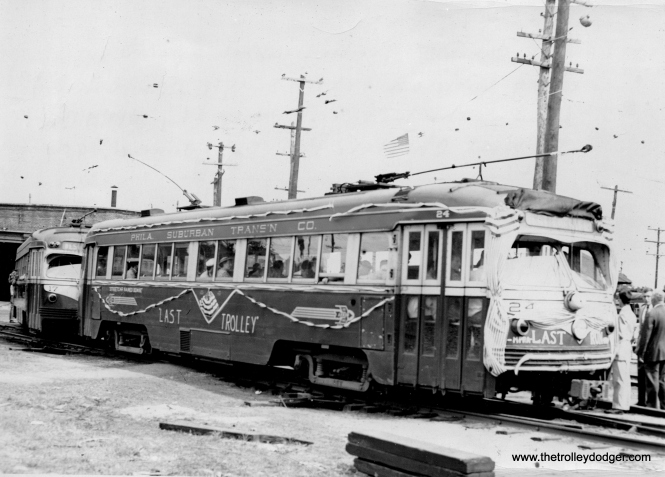 """Caption: 2 car """"MU"""" Train, which operated along with an extra single car behind it on the last rail trip (by MPRA Club) to West Chester, PA., Sunday, June 6, 1954."""