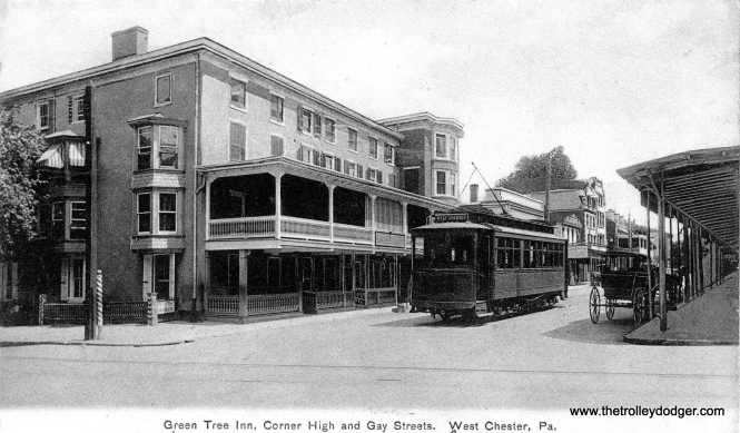 """This postcard, showing the end of the line in West Chester, was mailed in 1907. The view is the opposite of the one shown at the top of this page. Caption: """"You might take the early trolley to Atlantic. Think the photo is something worth having, thanks."""""""
