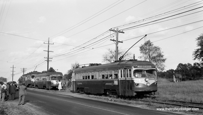 Cars 14, 20 and 68 at a photo stop along the West Chester line on the June 6, 1954 NRHS fantrip.