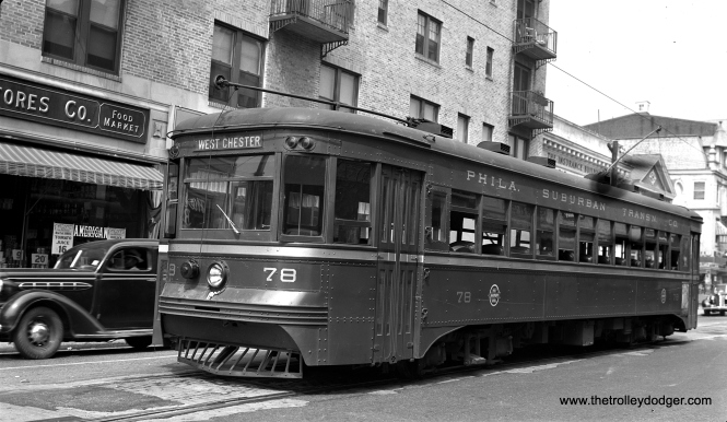 """Brill """"Master Unit"""" 78, built in 1932, at the West Chester end of the line on August 24, 1941. This car is now preserved at the Pennsylvania Trolley Museum in Washington, PA."""
