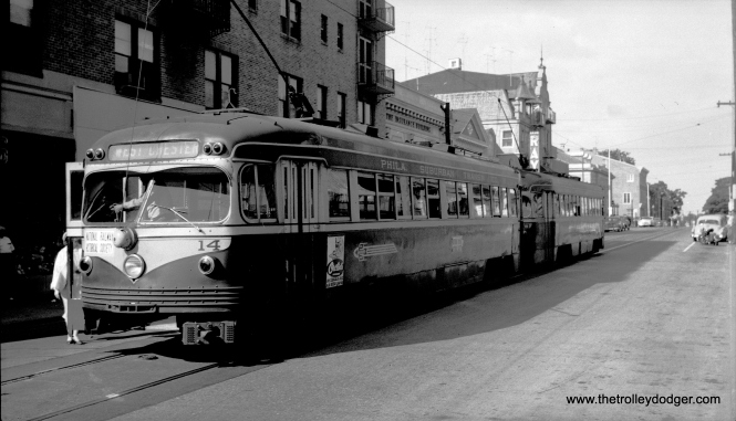 Cars 14 and 15 running in multiple unit operation at the West Chester end of the line on June 6, 1954.