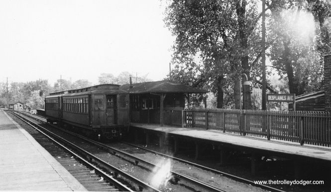 "This photo shows an eastbound two-car Met ""L"" train at the old DesPlaines Avenue station, which was actually owned by the Chicago, Aurora & Elgin. The station was on the east side of the street, in an area now occupied by the Eisenhower Expressway. (George Trapp Collection)"
