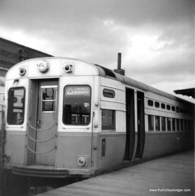 CTA single-car unit 8 at Logan Square terminal in the Fall of 1963. (George Trapp Photo)