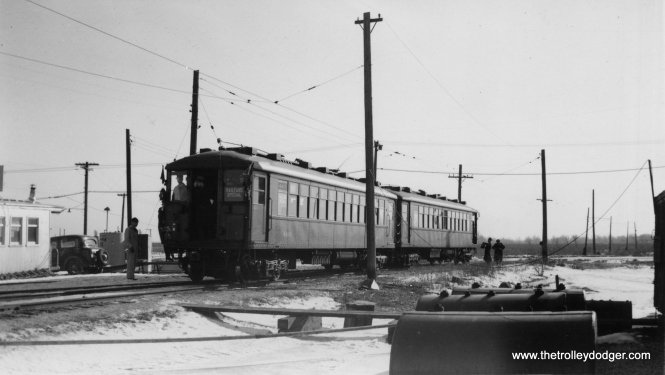 Since this two-car train of 4000s is using overhead wire and not third rail, this appears to be a Central Electric Railfans' Association fantrip along the CA&E's Mt. Carmel Branch on February 12, 1939. If so, one of the two cars used was 4317. (Edward Frank, Jr. Photo, George Trapp Collection)