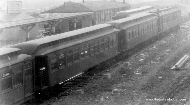Westchester trains in storage at the Roosevelt end of the line, circa 1929. (George Trapp Collection)