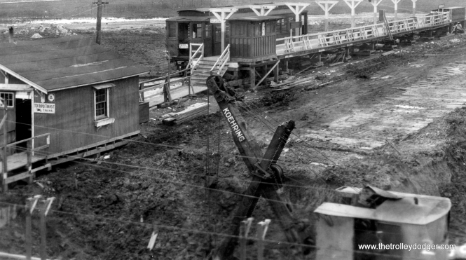 In this April 28, 1929 view, a steam shovel is digging out an underpass for Westchester trains at the Roosevelt Road station. We are looking north. (George Trapp Collection)