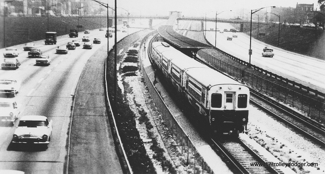CTA high-speed cars 1-3 and 6129-6130 on a test run along the Congress line, in the early 1960s. (George Trapp Collection)
