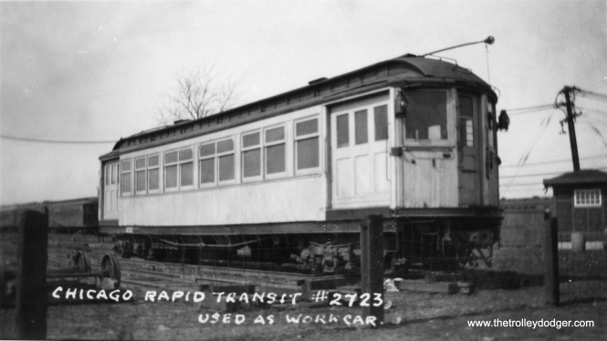 "CRT 2721was a tool car, shown here at the Laramie Yards on the Garfield Park branch. According to Don's Rail Photos, ""2701 thru 2756 were built by Barney & Smith in 1895 as M-WSER 701 thru 756. In 1913 they were renumbered 2701 thru 2756 and in 1923 they became CRT 2701 thru 2756. 2721 was rebuilt in 1921."" (George Trapp Collection)"