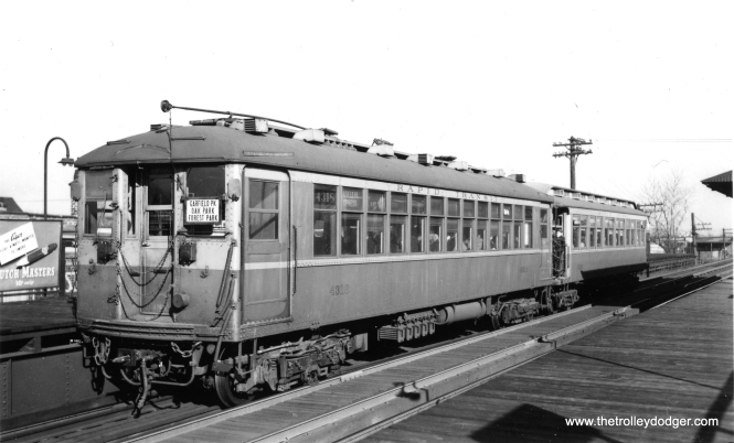 """CRT 4318 and 2190, running in express service along the Garfield Park """"L"""". Not sure which station this is. (Joe L. Diaz Photo, George Trapp Collection)"""