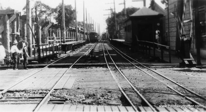 """This appears to show a grade separation project in Evanston. Brian M. Hicks: """"Noyes street looking south in the Fall of 1929."""" (Allen T. Zagel Photo, George Trapp Collection)"""