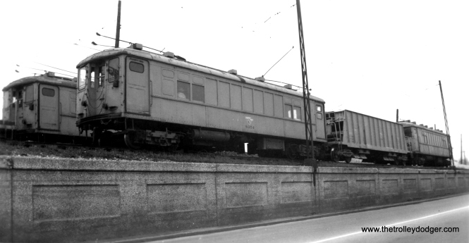 4000s in work car service on the old siding near South Boulevard. (Edward Frank, Jr. Photo, George Trapp Collection)