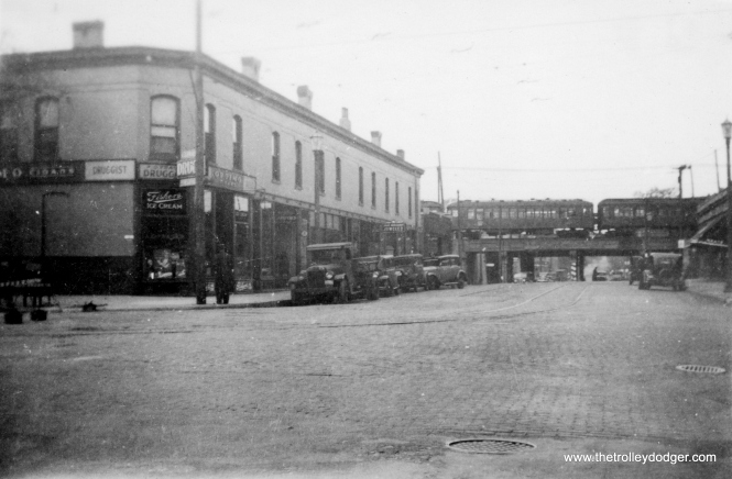 Dempster Street in Evanston in the 1930s. (Edward Frank, Jr. Photo, George Trapp Collection)