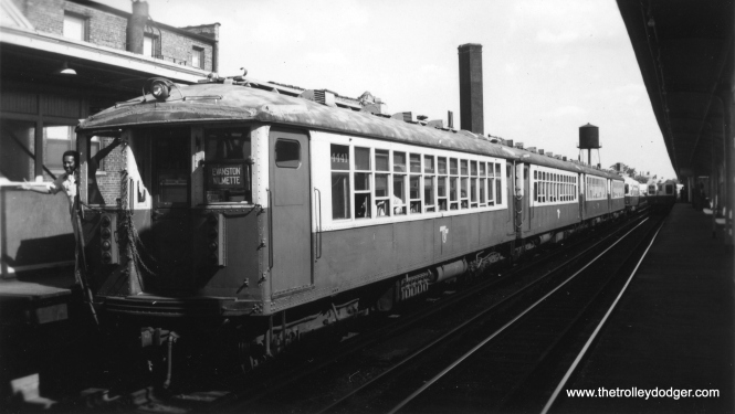 CTA 4441 at the front of a train of 4000s in Evanston Express service. Can this be Howard? (Edward Frank, Jr. Photo, George Trapp Collection)
