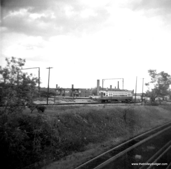 CTA single car unit #2 on the turnback loop in Skokie service near Howard in 1964. (George Trapp Photo)