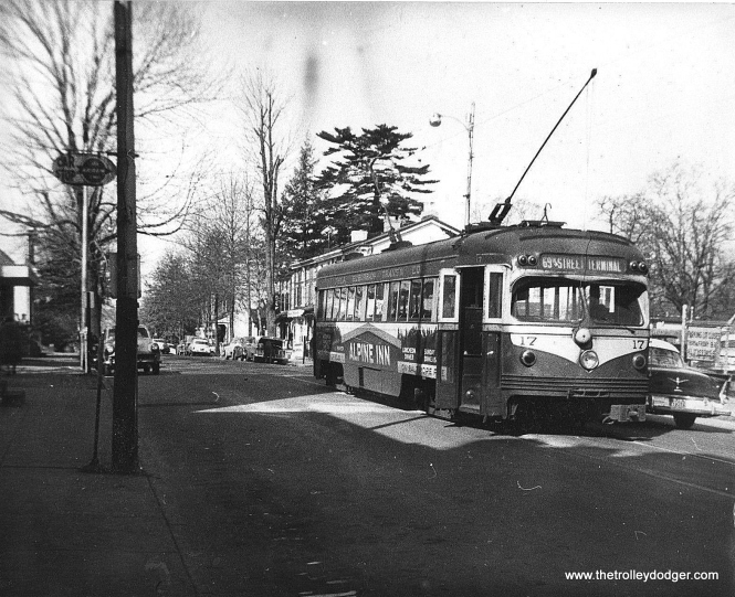 """Red Arrow 17. Michael T. Greene writes, """"The first picture of Red Arrow 17 was taken in Media, probably at the end of the line, sometime starting in 1956, based on the 1956 Plymouth parked (or passing) by the trolley."""" Kenneth Achtert: """"The shot of #17 is at the end of the line in Media (Orange St.) as evidenced by the two poles raised as the operator is in the process of changing ends."""""""