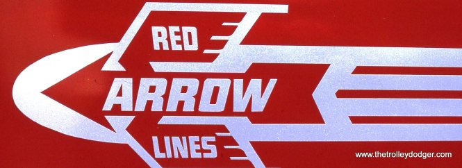The Red Arrow logo as applied to SEPTA PCC car # 2799.