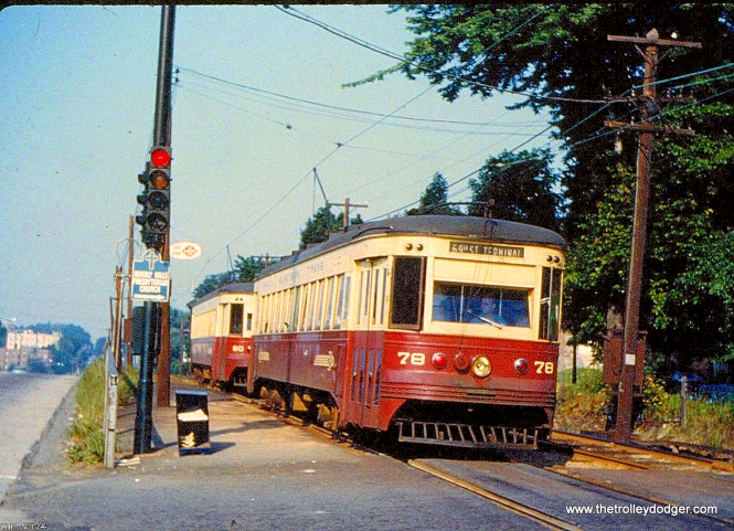 """Red Arrow 78 and 80 in 1959. These were Brill-built """"Master Units."""" Garrett Patterson adds, """"It might be pointed out with the second image, that both 78 & 80 operate to this day, #78 at PTM in Washington, PA, and #80 at Steamtown."""""""