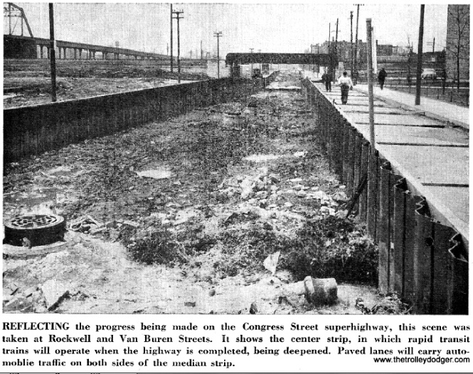 "Here is an example where even the CTA got it wrong with this caption, taken from a 1950s employee publication. This is not the center median strip for the Congress Expressway. It actually shows the CTA temporary right-of-way on Van Buren under construction circa 1952. The grade level had to be lowered at this point in order to clear the C&NW/PRR tracks, and this was done in the middle of the street, leaving only a small lane for other traffic to the north. There was also a small lane to the south, presumably to provide easy access to the construction site on both sides of the tracks. The railroad bridge was retained and is still in use today, but new supports were built under the south portion, as you will see in contemporary pictures. The actual expressway median at this point is located right where the Garfield Park ""L"" structure is at left. That is why it was necessary to build a temporary alignment for about 2.5 miles of the route. We are looking west."