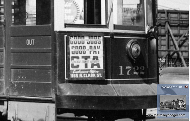 Although not identical, here is a similar sign on another Western Avenue streetcar, in a photo taken on May 22, 1948. That is probably not much different than when the previous two pictures were taken. The CTA had a lot of different signs like this, and many were variations on the same theme. To see the original picture, go to our post Chicago Surface Lines Photos, Part Three (November 21, 2015).