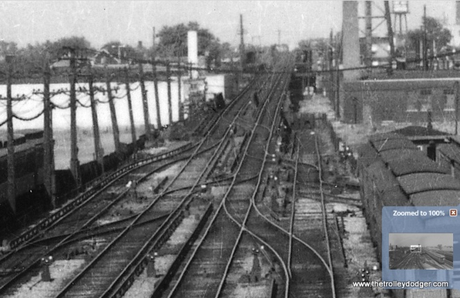"You hardly ever see any pictures of the ramp that brought the Garfield line from grade level to the ""L"" structure between Laramie and Cicero. This is an enlargement of the previous picture. (Allen T. Zagel Photo, George Trapp Ciollection)"