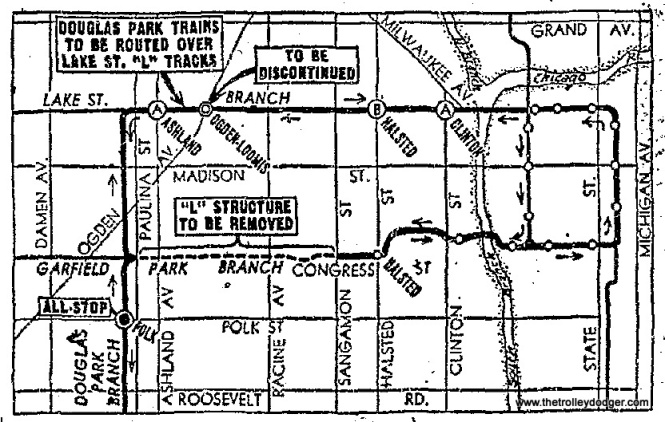 "This map shows how the Douglas Park ""L"" was rerouted as of April 4, 1954. The old routing brought trains into the Loop via the Mat main line (Garfield branch on this map). In September 1953, the Garfield trains themselves were using a 2.5m temporary right-of-way in the south half of Van Buren Street. In order to facilitate the removal of that portion of ""L"" structure that remained between Paulina and Racine, a new north-south span was built crossing the expressway footprint (there should be a straight line on this map, but there isn't), allowing Douglas trains to continue north along Paulina, to a new connection with the Lake Street ""L"". That was a connection which had not previously existed, since previously the only service on these tracks (Logan Square and Humboldt Park trains, which stopped using these tracks in February 1951) crossed over the Lake Street ""L"". As it turns out, this is the same route now followed by today's CTA Pink Line (which replaced Douglas) after a hiatus of more than 50 years."