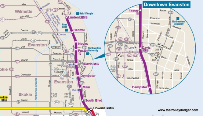 A map of the CTA Purple Line (Evanston) branch.