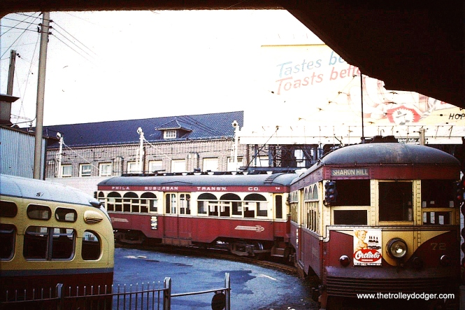 """A Sharon Hill train at 69th Street Terminal, circa 1954. Garrett Patterson: """"Sharon Hill Train of Center Doors was most likely a School Tripper servicing Archbishop Pendergast (girls) and Msgr. Bonner (boys) at Lansdowne Ave."""" On the other hand, Matt Nawn says, """"The two-car train of center door cars is probably a few years too early to be a school tripper to Monsignor Bonner and Archbishop Prendergast High Schools (combined into one school in recent years). These schools did not open until the late 1950s."""""""