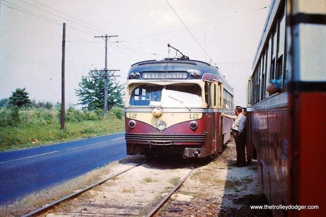 Car 12 at a passing siding along West Chester Pike circa 1954.