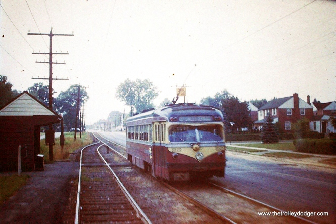 """An outbound car in """"side of the road"""" operation along West Chester Pike, circa 1954. Matt Nawn: """"The scene of #22 outbound along West Chester Pike appears to be near Broomall. The homes along this part of West Chester Pike look much the same today. Zooming in on the photo, a former Acme store near the intersection of West Chester Pike and PA Route 320 can be seen in the background. """""""