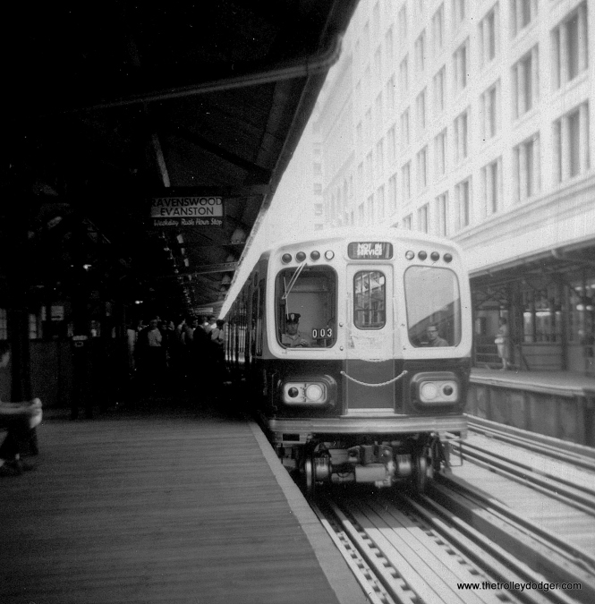 Brand new CTA cars 2003-2004 (paired with 2001-2002) in demonstration service at Randolph and Wabash in 1964. (George Trapp Photo)