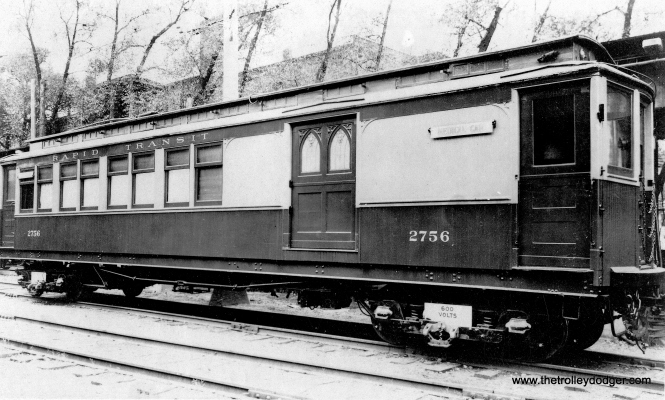 "Don's Rail Photos: ""2756 was built by Barney & Smith in 1895 as M-WSERy 756. In 1913 it was renumbered 756. It became CRT 2756 in 1923. At an unknown date it was rebuilt as a medical car. It was primarily used for physical exams for employees, and occasionally even made it to Milwaukee on the CNS&M."" This picture would seem to show it in funeral car configuration. (George Trapp Collection)"