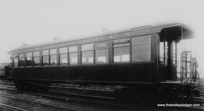 "Don's Rail Photos says, ""2281 was built by Pullman in 1900 as M-WSER 281. It was rebuilt in 1912 and in 1913 it was renumbered 2281. It became CRT 2281 in 1923."" The car is signed for 5th Avenue. This was the original name of Wells Street until 1916. So it is that 5th Avenue and not one of the stops used by Westchester Branch trains from 1926 to 1951 on the CA&E main line. Therefore, the picture dates to between 1913 and 1916. (George Trapp Collection)"