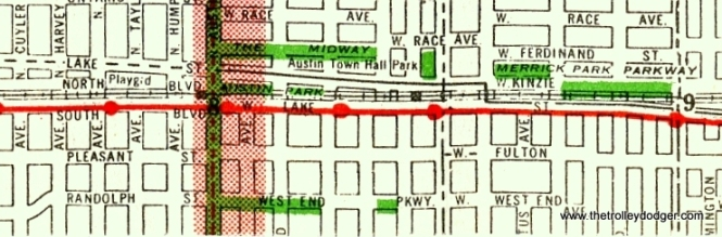 In this early 1940s Chicago street map, the street south of the embankment is labelled as Lake all the way to Austin Boulevard, where it apparently crosses over to the north of the embankment in Oak park. There is no sign of any Corcoran Place. The solid line, shown crossing over from north to the south of the tracks at Pine Street, is the route of the route 16 - Lake streetcar. However, the map does not really make it clear whether, technically, the street to the north of the tracks was called Lake in this section, or was a continuation of Kinzie, as it was east of Pine. Were there in fact two Lake Streets in this section? There wouldn't have been duplicate street numbers, since in this area, each half would've only had buildings on one side of the street. Perhaps a map expert can clarify all this.