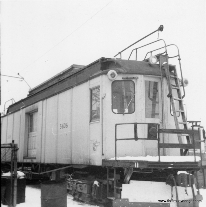 "Ex-North Shore Line line car, here renumbered as S-606, on the CTA in early 1966. Don's Rail Photos: ""S-606 was built by Cincinnati in January 1923, #2620, as Chicago North Shore & Milwaukee 606. In 1963 it became CTA S-606 and burned in 1978. The remains were sold to the Indiana Transportation Museum."" (George Trapp Photo)"