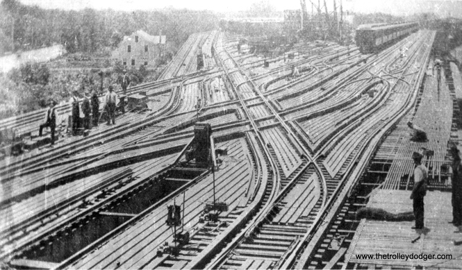 This photo shows the Wilson Avenue yard circa 1900, when it was the original northern terminal for the Northwestern Elevated Railway. Wilson Shops, shown here under construction, opened in 1901 and burned down on October 26, 1996. (George Trapp Collection)