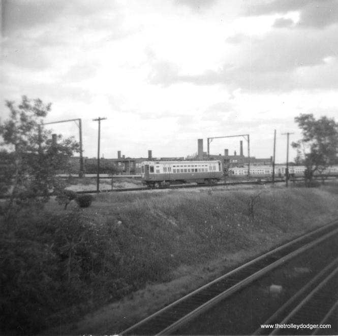 CTA single car unit 4 changing directions near Howard, in Skokie Swift service circa 1964. (George Trapp Photo)