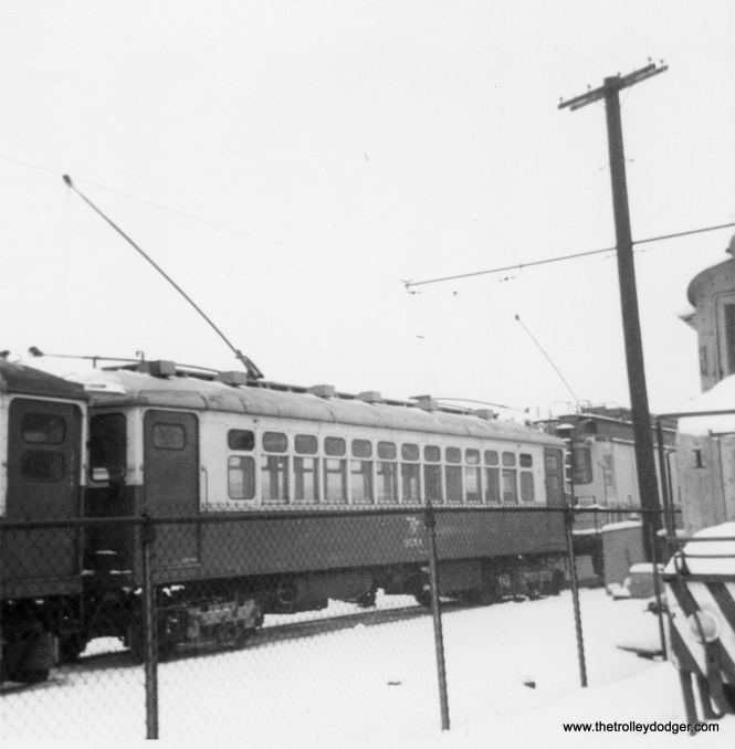 """CTA S-354 and other work equipment at Howard in early 1966. It was rebuilt from a 1922-vintage 4000-series """"L"""" car in 1965. (George Trapp Photo)"""