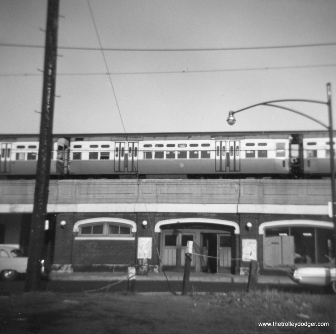 CTA 6554 at Loyola in its original paint, in December 1962. (George Trapp Photo)