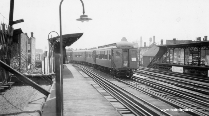 "This photo of a CRT train was taken at the Willow station on the north side main line. This small station opened in 1905 and was one of the only stations that CRT ever closed. It was located just south of where the State Street Subway connection to the ""L"" was built, which necessitated Willow's closure on May 17, 1942 and subsequent demolition. (Allen T. Zagel Photo, George Trapp Collection)"