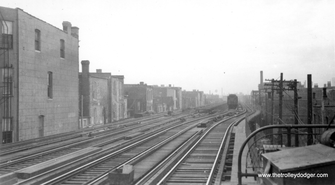 """This photo, taken circa 1942-43, shows the """"L"""" connection to the State Street Subway under construction. (George Trapp Collection)"""